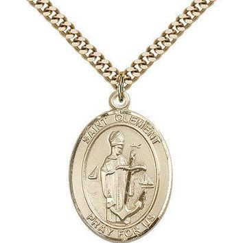 "Saint Clement Medal For Men - Gold Filled Necklace On 24"" Chain - 30 Day Mone... 617759855999"