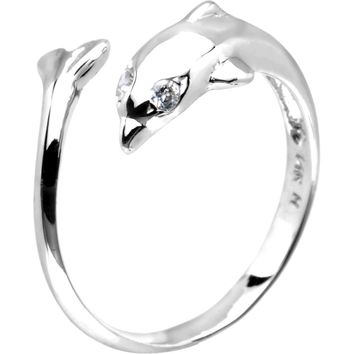 Solid 14kt White Gold .02 Carat Genuine Diamond Dolphin Toe Ring