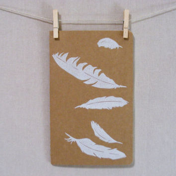 Bird Feather  Moleskine  Journal  Hand by WoodenSpoonEditions