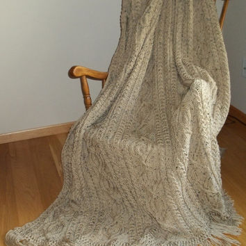Afghan Knit in Cable Pattern in Buff Fleck