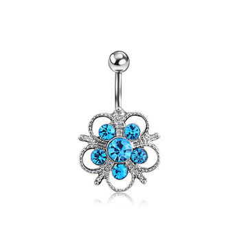 New Charming Dangle Crystal Navel Belly Ring Bling Barbell Button Ring Piercing Body Jewelry = 4804943044