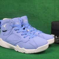 Air Jordan retro 7 UNC Pantone University blue men women basketball shoes white sports Sneakers Athletics Shoes size 36-47
