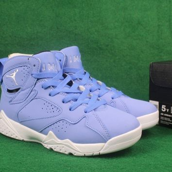 Air Jordan retro 7 UNC Pantone University blue men women basketb. Shoes ... 6889227350