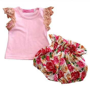 2Pcs/Set Kids Baby Girl Lace Sleeve Pink Top +Flower Shorts Bloomers Outfits Set Summer Clothes