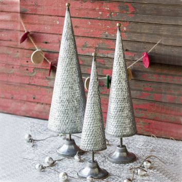 Zinc Topiaries With Beaded Brass Detail (Set of 3)
