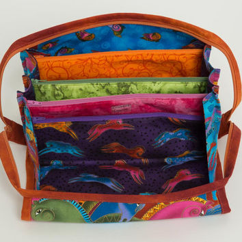 Storage Bag - Bionic Gear Bag  - Knitting Notions Bag - Laurel Burch Fabric Bag -  Cosmetics Storage Bag - Sewing Notions Bag