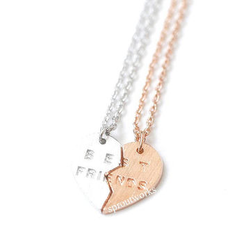 best friend necklace, best friends necklace, friendship necklace, best friends, woman necklace, bridesmaid gift, engraved, heart necklace