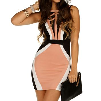 Black Color Blocking Short Dress
