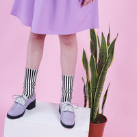 Oxford Bow Lace Up Lilac + Grey
