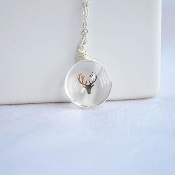 Deer Head Elk Glass 925 Sterling Silver Chain Statement Necklace Women Choker Jewelry Boho Bohemian Best Friend Charms Animal
