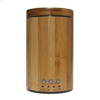 Real Bamboo Wood Ultrasonic Aromatherapy Essential Oil Diffuser and Humidifier with Cool Mist - 4 Timer Settings, Auto Shut-Off and Colored LED Lights