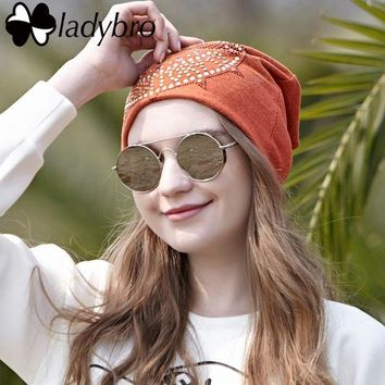 DCCKU62 Ladybro 2017 Spring Women Hat Bonnet Cap Femme Casual Autumn Women Slouchy Skullies Beanies Eagle Rhinestone Hat Cap Female
