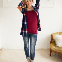 Warm and comfy plaid cardi with suede patches