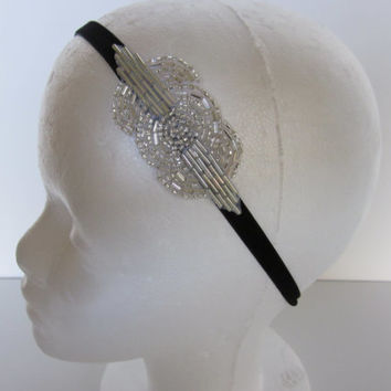 1920s Hair Accessories Headpiece Gatsby Headband Fascinator Silver 1920s Flapper Wedding Roaring 20s Art Deco Beaded with Black Velvet