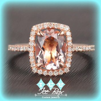 Morganite Engagement Ring 1.5ct Oval in a 14k Rose Gold Diamond Single Rectangle Halo setting
