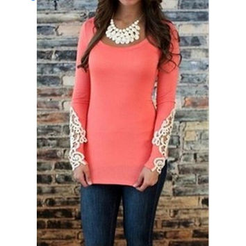 Long Sleeve Women's Fashion Lace Patchwork Tops T-shirts [7322489985]