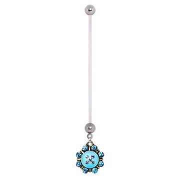 PTFE Aqua Naurtical Sunburst Dangle WildKlass Pregnancy Navel Ring