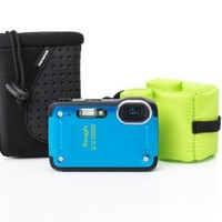 Olympus TG-620 Tough iHS Waterproof Digital Camera (Blue) with Case and Float Strap (Old Model)