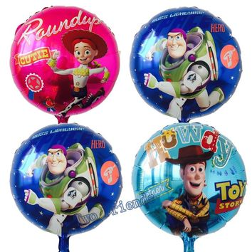 10pcs Toy story foil balloons 18inch cartoon hero Woody captain Buzz balls child birthday party decorations kids helium globos