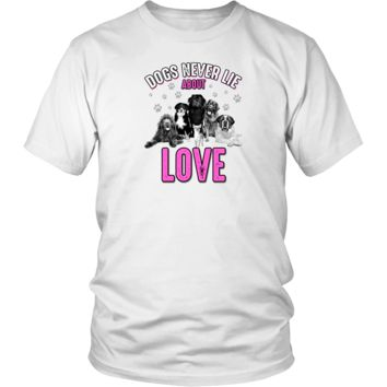 'Dogs Never Lie About Love' District Unisex T-Shirt