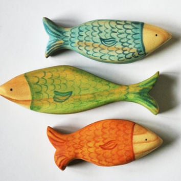 BLUE GREEN or ORANGE fish, Ocean animal set  / Handmade Wooden Toy Waldorf Inspired