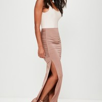 Missguided - Nude Slinky Ruched Side Split Maxi Skirt