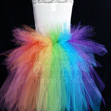 Rainbow Tutu Bustle - Women's Custom Sewn 3 Tiered Pixie Tutu Bustle - Up to 24 inches in length