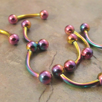 Titanium Rainbow Eyebrow Ring Rook Ear Piercing 16 Gauge