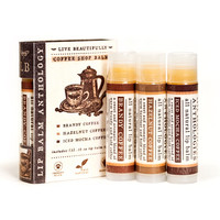 Coffee Shop Lip Balm Set - All Natural Collection of 3 Flavors