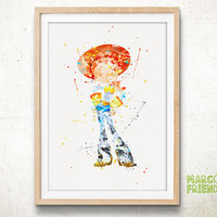 Jessie, Toy Story Disney - Watercolor, Art Print, Home Wall decor, Watercolor Print, Disney Princess Poster