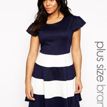 Praslin Plus Size Skater Dress With Striped Skirt at asos.com