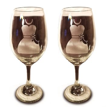 Laser Engraved LGBTQ Bride and Bride Glasses - 20 oz Wine Glasses - Wedding Toasting Set of 2 - Couples Gifts - Engagement Gift - Original Wedding Gifts - Custom Wedding