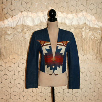 Country Western Denim Jacket Southwestern Blanket Jacket Cowgirl Crop Jacket Aztec Navajo Pioneer Wear Size 8 Size 10 Medium Womens Clothing