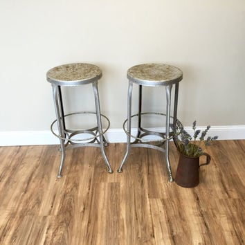 Vintage Industrial, Silver Chairs, Drafting Stool, High Bar Stools, Rustic Home Decor