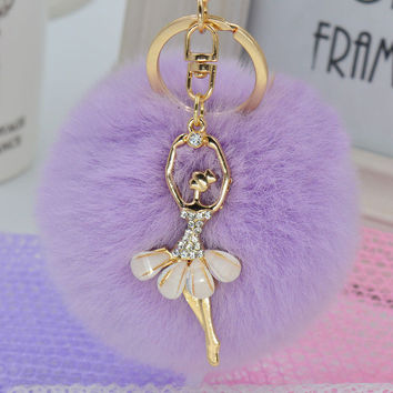 Pretty Ballerina Rhinestone Charm Light Purple Pom Pom Keychain