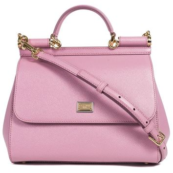 Dolce & Gabbana Women's Pink Leather Small Miss Sicily Shoulder Bag