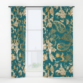 Golden Indian henna in green Window Curtains by Color and Color