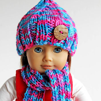 American Girl Doll Hand Knitted Winter Accessories, Hat Scarf Leg Warmers in Pink and Blue, Handmade Clothes for 18 Inch Doll