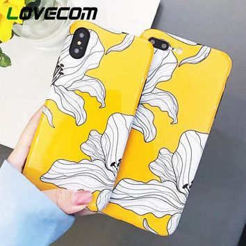 LOVECOM Phone Case For iPhone X 6 6S 7 8 Plus Hot Yellow Flowers Glossy Soft IMD Phone Back Cover Cases Coque Best Gifts