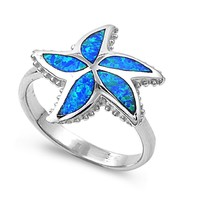 Sterling Silver Starfish 18MM Blue Lab Opal Ring
