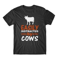 Easily Distracted by Cows T-Shirt 100% Cotton Premium Tee