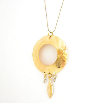 Gold Hoop Necklace with Crystals and Gold Leaf Pendant