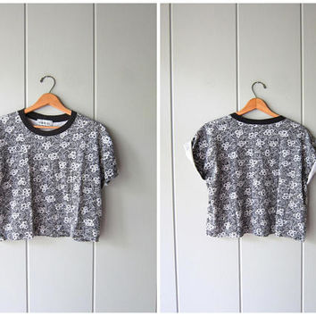 80s Cropped Tshirt Floral Print Tee Black White Vintage Shirt BOXY Cotton Ringer Tshirt Hipster Hip Cotton Crop Top Womens Medium Large