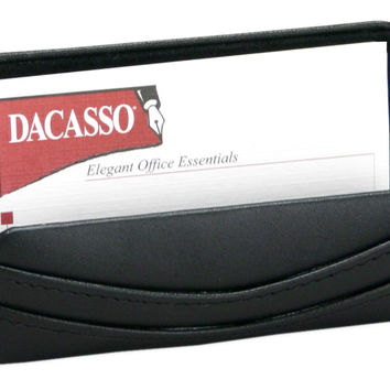 Dacasso Office Desk Tabletop Decorative Black Leather Business Card Holder Display StandBlack Leather Business Card Holder