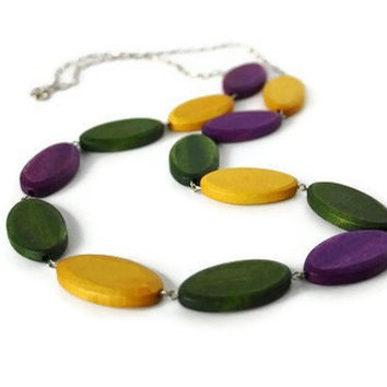 Fall Fashion. Long Wood Necklace in Forest Green, Purple and Mustard Yellow Wood beads.