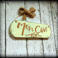 Mom Cave Sign, Primitive Home Decor, Handmade Wooden Sign,Gifts For Her,Gifts Under 20,Hand Painted Wood Sign,Mothers Day Gift,Bedroom Decor