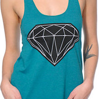 Diamond Supply Co.. Women's Big Brilliant Teal Racerback Tank Top