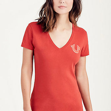 DOUBLE PUFF RED WOMENS TEE