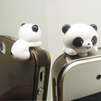 1PC Resin Hanging Panda Bear Antidust Headphone Jack for iPhone 4, 4s, 4g, Nokia, HTC, Samsung S4, S3