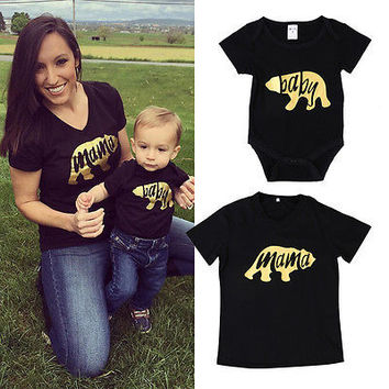 2017 brand black summer bear Newborn Infant Baby Boys adult mama Family Matching Set Romper T-shirt Tops Outfits Clothes